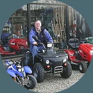 salg og reparation af landbrugsmaskiner til anlægsgartnere eller private havemand